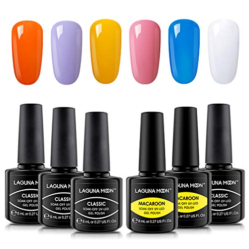 Lagunamoon Gel Nagellack UV LED, 6 Farben Themenset, Gel Polish Soak off 8ML - Osterei