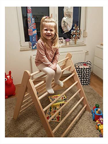 rs-interhandel®, großes Kletterdreieck (ca. 90 cm hoch) Art Pikler, incl. Kindersicherung, sehr hochwertig und beliebt, Dreiecksständer, klappbares Sprossendreieck, Spielzeug, fertig zusammengebaut