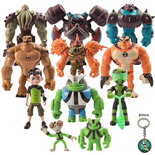 Ben 10 Action Figure Kids Toys – 11-Piece Ben Ten Figurine Set with Keychain Included – Safe and Durable – Favorite Characters Ben Tennyson Grey Matter Heatblast, Humongousaur, Rath, Vilgax