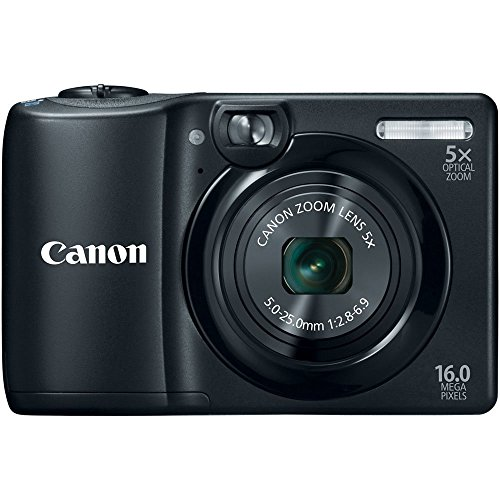 Canon PowerShot A1300 16.0 MP Digital Camera with 5x Optical Zoom 28mm Wide-Angle Lens (Black) (OLD MODEL) (Renewed)