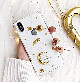 【CaserBay】 iPhone Phone Case 3D Elegant Unique Design Shiny Glitter, Jeweled, Soft Silicone Rubber Slim Gel Phone Cover【3D Moon, Compatible with 5.5