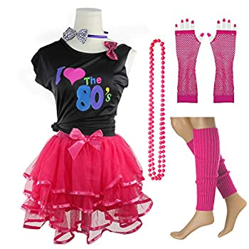 I Love The 80 s T-Shirt 1980s Girl Costume Outfit Accessories  8-10 Years Hot Pink