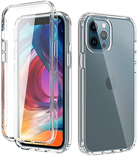 QAAA Clear Protective Case for iPhone 12Pro Max | with [Built-in Screen Protector] 360 Degree Full-Body Hard PC Soft TPU | Shockproof Dual Layer Rugged Bumper Cover Case