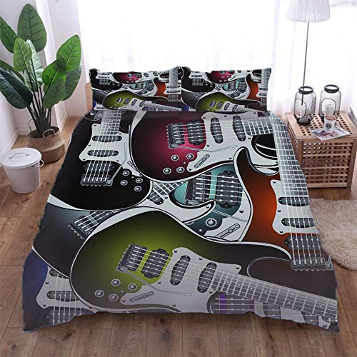 TUJOJO Funda De Edredón 135X200Cm Guitarra Electrica Juego Ropa De Cama 3 Piezas con Cremallera Oculta,Microfibra Hipoalergénica,1 Funda Nórdica Y 2 Funda De Almohada