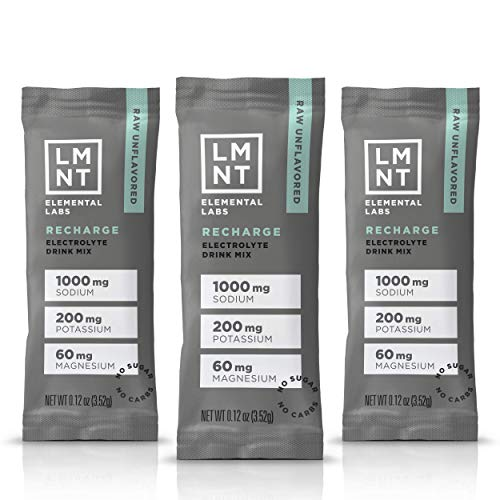 LMNT Electrolyte Drink Mix | Hydration Powder | Keto & Paleo | No Sugar, No Artificial Ingredients | Raw Unflavored | 30 Stick Packs