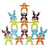 Lewo Giochi di accatastamento in Legno Scimmie Blocchi di bilanciamento Giochi Bambino Piccolo Giocattoli educativi per 3 4 5 6 Anni Bambini Infanti Adulti 16 Pezzi (Gioco di accatastamento)