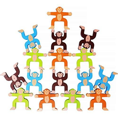 Lewo Jeux d'empilage en Bois Singes Interlock Jouets Blocs d'équilibrage Jeux Toddler Jouets éducatifs pour 3 4 5 6 Ans Enfants Nourrissons Adultes 16 pièces