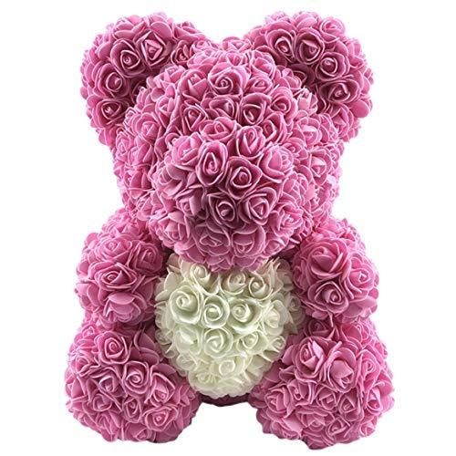 Kongqiabona-UK Valentinstagsgeschenk Rosa Teddybär Blume künstliche Dekoration Geburtstag Hochzeit Dekoration Geschenk