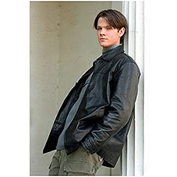 Gilmore Girls 8 x 10 Photo Jared Padalecki/Dean Forester VERY Young! Black Leather Jacket Over Blue Sweater Pose 2 kn
