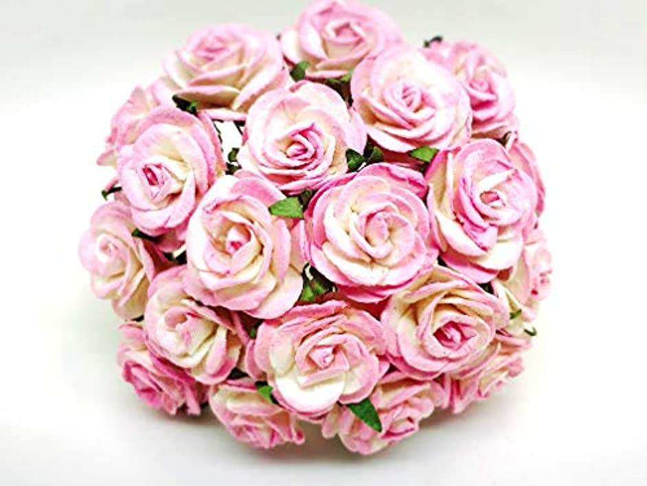 Tyga_Thai Brand 25 pcs. Cream Pink Color Rose Mulberry Paper Flower Craft Handmade Wedding 25 mm. Scrapbook for so Many Card & Craft Projects CMR5-4#518 (MULBERRY-PAPAER-ROSE-25MM)