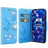 FatcatChoice Funda para Huawei P9 Lite Mini, Bling Bling Case PU Cuero Diamante Brillante Case Cuerpo Completo Carcasa Protectora Cartera Soporte Función Fundas Case Cover (Azul)