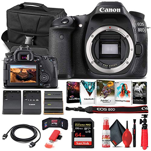 Canon EOS 80D DSLR Camera (Body Only) (1263C004) + 64GB Memory Card + Case + Corel Photo Software + LPE6 Battery + External Charger + Card Reader + HDMI Cable + Deluxe Cleaning Set + More (Renewed)