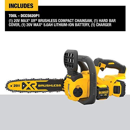 DEWALT 20V MAX XR Chainsaw Kit, 5-Ah Battery, 12-Inch (DCCS620P1)