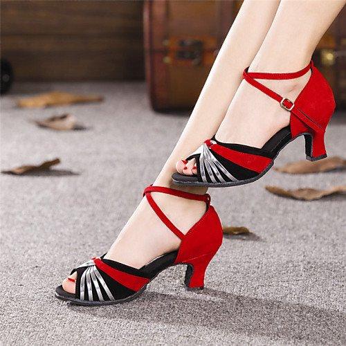 T.T-Q Zapatos de Baile para Mujer Paillette de Ante Moderno Tacón Cubano al Aire Libre Más Colores Sandalias Latinas de Oro Salsa Jazz Práctica de Swing de Tango Rendimiento en Interiores