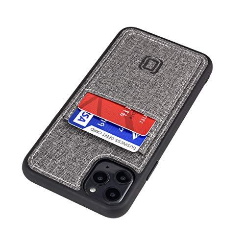 Dockem Luxe M2T Handyhülle mit 2X Kartenfach für iPhone 11 Pro Max (6.5): M-Serie TPU mit Canvas-Kunstleder - Schlanke Wallet Handytasche mit Integrierter Metallplatte für Magnet-Halterung