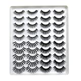 ARRIVEOK SKONHED 20 Pairs 3D False Eyelashes Mixed 4 Styles Faux Mink Lashes Natural Handmade Wispy Criss-cross Fluffy Eyelashes Extension Beauty Makeup (GT54)