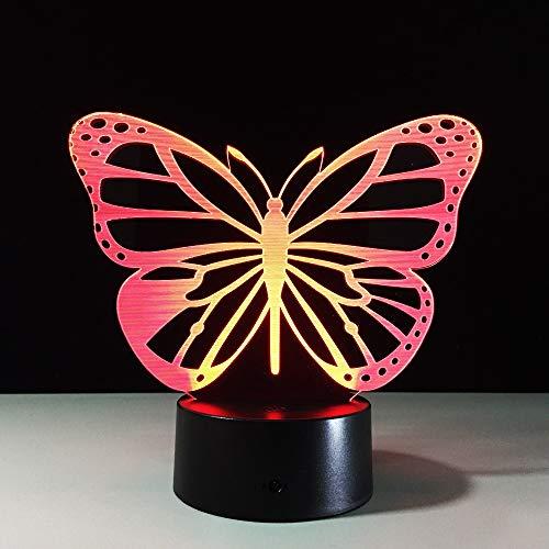 Nndxh Mariposa 3D Luz Led Luz Nocturna Led Usb Energía Móvil Luz Nocturna Led Luz Nocturna Batería Lámpara De Mesilla De Noche, Regalo Novedoso