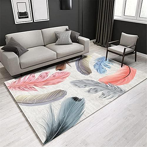 alfombras para Cocina El patrón de Plumas de Color de Alfombra Gris de la Sala de Estar no Cae Alfombra Dormitorio Juvenil Alfombra para niños 120X180CM 3ft 11.2' X5ft 10.9'
