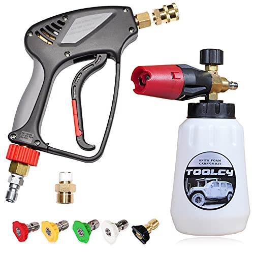 Toolcy Foam Cannon Kit with Pressure Washer Gun 5000 PSI, 5 Pressure Washer Nozzle Tips, 1/4'Quick Connector, Professional Grade, Quick Release