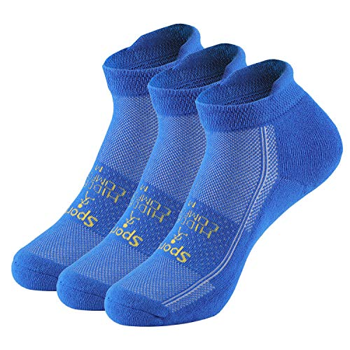 Falechay Sneaker Socken Herren Damen Low Cut Laufsocken 3 Paar Sportsocken mit gepolstertem Fußrücken Kurze Running Komfortsocken Baumwolle Blau 39-42