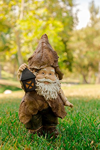 Alpine Rainforest Gnome with Lantern Garden Statue, 15 Inch Tall