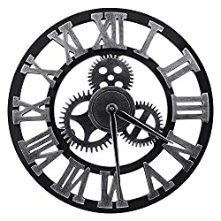 "Lucky Monet Large 3D Gear Roman Numeral Wall Clock Antique Wall Clock Retro Round Clock Art Wheel for Living Room, Kitchen, Restaurant, Coffee Shop Décor (12"", Sliver)"