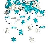 Oblique Unique® Konfetti Baby + Sternchen + Bärchen Blau Türkis Silber 500 STK. Tisch Deko für Geburt Taufe Baby Shower Junge