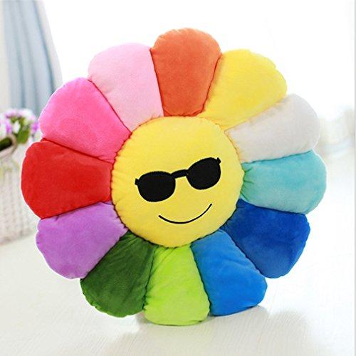Nunubee Neuheit Niedliche gefüllte Baumwolle Emoji Blumen Spielzeug Kissen Kissen für Boden Sofa Home Decoration