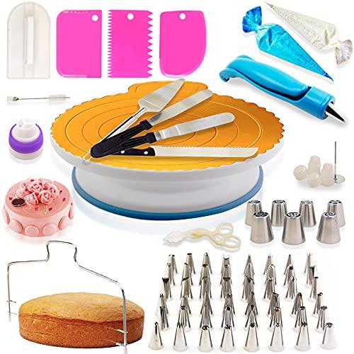 Ukomy Decorazione la Torta Set Kit 124 Pezzi di Utensili Decorazione per Torte della Pasticceria Professionale Supporto per Giradischi Rotante, Spatola Tagliapasta, Adatta per Cupcake Dolci Torta