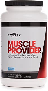 Beverly International Muscle Provider, 30 servings, Vanilla. Super-fast-absorbing whey protein for rapid recovery, lean muscle, fat loss. Fills your muscles, not your stomach. Tastes like ice cream!