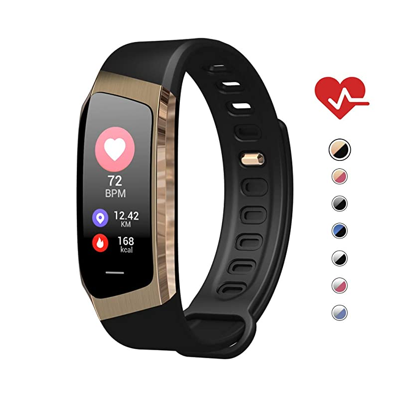 AOE Fitness Tracker HR, Waterproof Health Sport Bracelet, Color Screen Smart Watch, Activity Tracker with Blood Pressure Steps Calories Call/SMS, Best Gift for Women Men Kids, Android&iOS