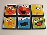 Sesame Street Room Wall Plaques - Set of 6 Sesame Street Room Decor - Big Bird - Ernie - Bert - Cookie Monster - Elmo - Oscar the Grouch Wall Signs