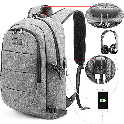 Tzowla Travel Laptop Backpack,Slim Durable Water Resistant Anti-Theft Bag with USB Charging/Headphone Port and Lock 15.6 Inch Computer Business Gift for Women Men College School Bookbag-Grey