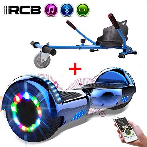 RCB Elettrico Scooter Elettrico con Hoverkart Go-Kart Costruito in luci a LED Bluetooth Speaker Regalo per Bambini e Adulti Ruote 6.5 \'\' Regalo di Natale