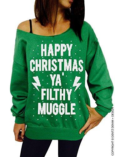 Happy Christmas Ya Filthy Muggle Slouchy Sweatshirt - X-Large Green White Ink