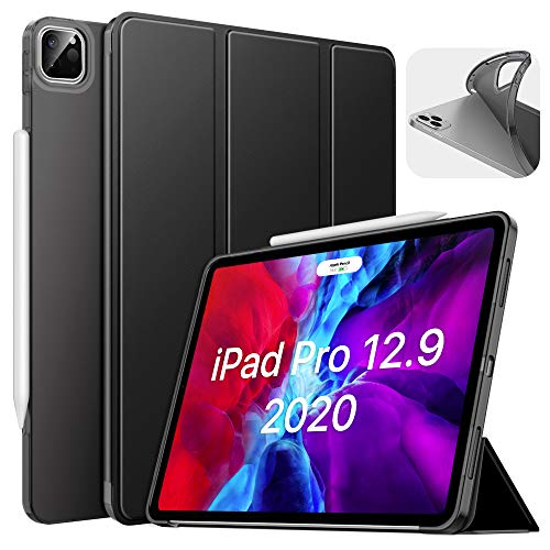 MoKo Case Fit iPad Pro 12.9 4th Generation 2020 & 2018 [Support Apple Pencil 2 Charging] Case with Stand, Soft TPU Translucent Frosted Back Cover Slim Smart Shell, Auto Wake/Sleep - Black