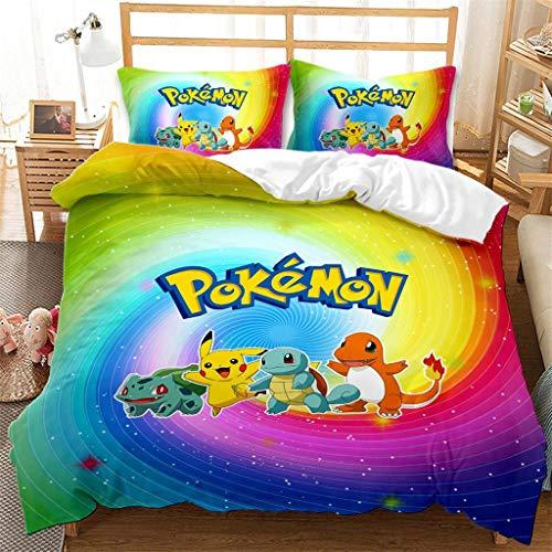 Funda nordica Cama,Pokémon Tema Funda edredonFunda nórdica Pikachu 220x240cm,Cómoda Funda nórdica de Microfibra para niños