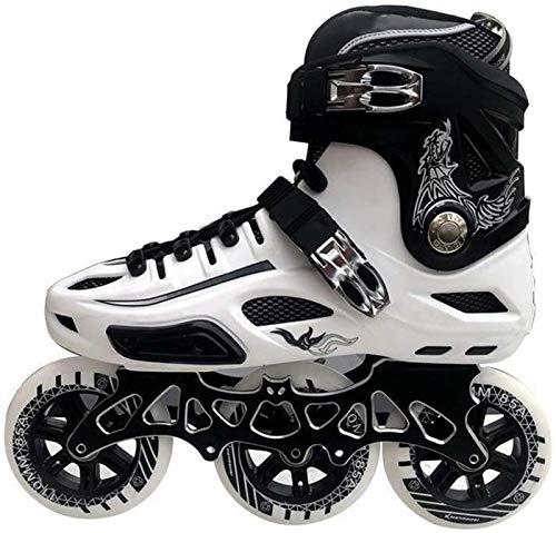 ZRH Inline-Schlittschuhe, 3-Rad 110mm-Räder Erwachsene Single Single Skates Full Flash Roller Skates Schwarz-Weiß Inline-Skates Rollschuhe Verstellbar (Color : White, Size : 43EU)