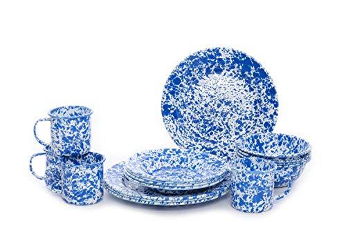 Enamelware Starter Set, 16 piece, Blue/White Splatter