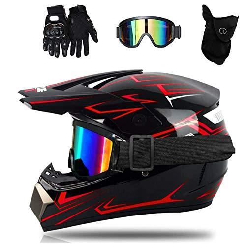 Casco de Moto-Cross Brillante, con Gafas, máscara, Guantes, Casco de Descenso de Enduro de Motocicleta para Adultos, Casco de Motocicleta ATV MTB Quad, Motocicletas Todo Terreno (C, 54-55cm)