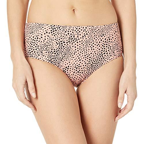 Seafolly Women's Standard Mid Rise Full Coverage Bikini Bottom Swimsuit, Safari spot Rose Sands, 10 US