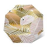 SUHETI Paraguas automático de Apertura/Cierre,Estilo nórdico,Hojas de Plantas de Color Rosa Dorado,Paraguas pequeño Plegable a Prueba de Viento