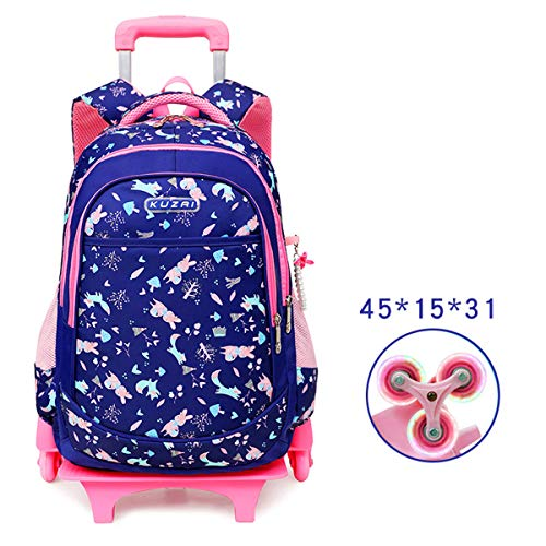 LHY EQUIPMENT Children Girls Wheeled Backpack, Ultra Light Detachable Backpack Children's Trolley Bag with Flash Six-Wheeled Large Capacity Nylon Waterproof Rolling Backpack,A