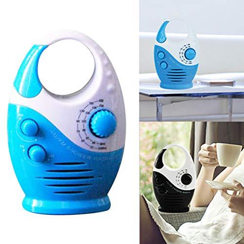 Mini AM FM Duschradio Wasserdichte Lautsprecher Bad Top Griff Einsatz Karte Musik Hängend Tragbare Taste Einstellbare Lautstärke, Weiß/Blau
