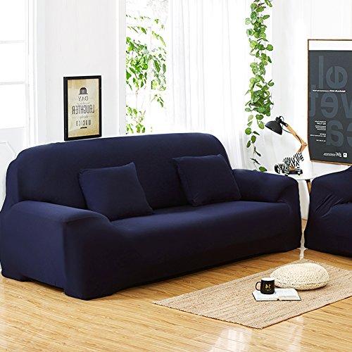 Copridivano A 3 Posti Lounge, Tratto Pieno Fodera Elastico, 7 Colori Solidi Opzione (Colore : Deep Blue)