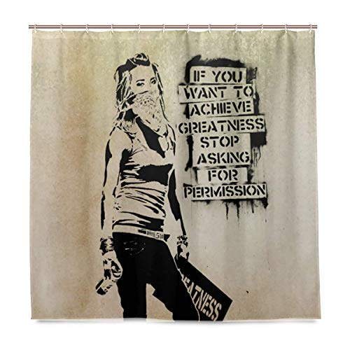 AORSTAR Duschvorhang d¨¦COR Banksy, Greatness Waterproof Shower Curtain Eco-Friendly Tie-Dye Decor 72x72 Inch