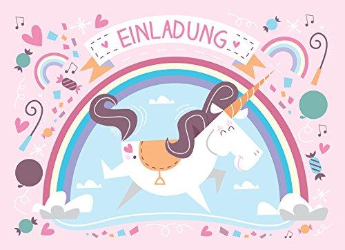 Einhorn Einladungskarten mit Umschlägen (12er Set) zum Kindergeburtstag + 13 Sticker GRATIS - für Jungen und Mädchen, EINHORNPARTY!