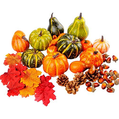 136 PCS Künstliche Kürbisse Dekorationsset für Halloween und Thanksgiving, Gefälschte Mini-Kürbisse, Ahornblätter, Tannenzapfen, Eicheln für das Herbsterntefest