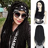 Ebingoo Black Braided Wig Lace Front Wig for Black Women Long Black Lace Wig African American Box Braided Afro Braided Lace Front Wigs Braids Synthetic Wigs for Daily Wear Cosplay