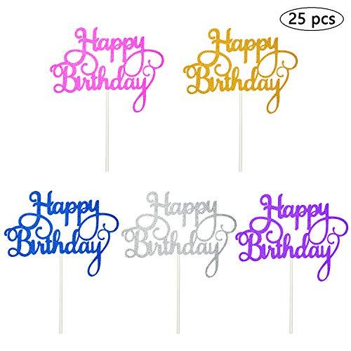 Vordas Welecoco Topper de Pastel de Cumpleaños,25 Piezas Topper Feliz Cumpleaños Happy Birthday Cake Topper Cake Decorations para Tarta para Cumpleaños Baby Shower Fiesta Temática